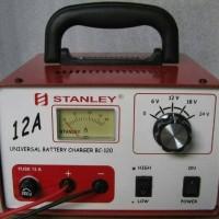 Charger accu 12a 6v-12v-24v travo merk stanley / casan aki 12a stanley