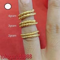 24K Cincin emas asli london dan london murni model selisih lilit polos