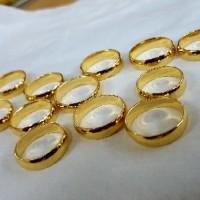 Cincin polos emas asli 24K gold padat belarotan polos bulat kawin tuna