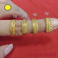 24K Cincin emas asli london dan london murni model bedage