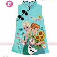dress imlek frozen Gw 235 hijau