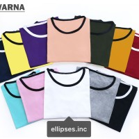 Ringer Tee / T-Shirt / Kaos Wanita Lengan Pendek Polos