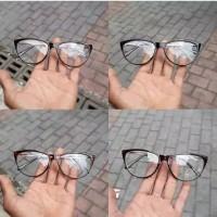 Kacamata fashion cut eye tangkai besi lensa normal frame kacamata kore - Hitam
