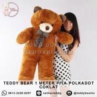 Boneka Teddy Bear Jumbo 1 Meter Pita Polkadot COKLAT
