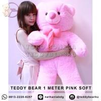 Jual Boneka Teddy Bear Jumbo 1 Meter Warna Pink Khas Bandung