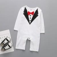 Baju Pesta Balita Long Sleeve Tux Suit Set Romper Putih 0085