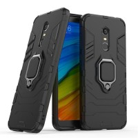 Xiaomi Redmi 5 Plus Black Panther Armor Ring Hard Soft Case Cover Kuat