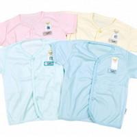 FLUFFY Baju Lengan Pendek Kancing Depan Bayi - 3-6 Bulan, Merah Muda