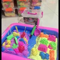 HOT SALE 2 kg 4 warna pasir kinetik ajaib magic play sand tray balon 8