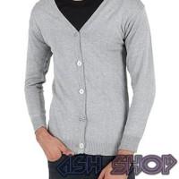 Terlaris Cardigan Sweater Pria Kancing Jaket Rajut Cowok Ariel Abu