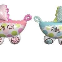 Balon foil stroler baby girl boy baby shower kado lahiran roda bayi