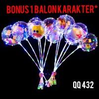 Balon Bobo led dengan bonus 1 balon karakter + gagang / Balon LED