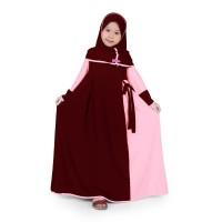 BAJUYULI - Baju Muslim Anak Perempuan Gamis Jersey Marun Peach