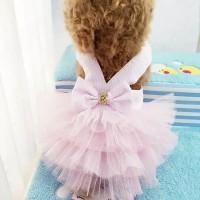 Baju anjing kucing dress warna pink HC509