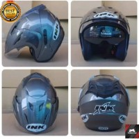 Helm ink Cx22 Jp8 half face T1 Double Visor abu abu Replika terbaru