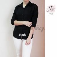 Kemeja Wanita Cewek 12 Warna Hitam Putih Polos Atasan Tangan Gulung