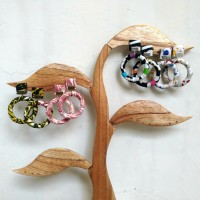 Anting Batik Cap Etnik Handmade / Hoop Earrings