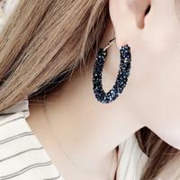 Anting bulat besar rhinestone korea round shiny blue & white MSO001