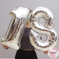 Balon Foil Angka Silver Besar 80 cm / Balon Angka