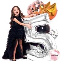 Balon Foil Angka Silver Jumbo 100 cm / Balon Angka