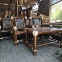 kursi tamu dari bambu satu set
