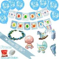 Paket Dekorasi Hiasan Balon Baby Shower Boy / Mom To Be Boy