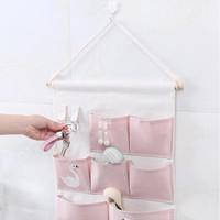 Pouch gantung 7 Kantong 2 Hook Storage bag gantung NJ34 - Pink