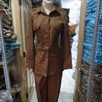 Blazer Baju PDH Pemda Aceh Tua Wanita Saku diDada Pangkat Bahu Jokowi
