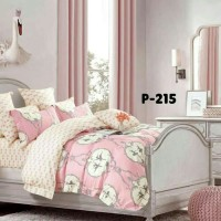 bedcover set ukuran 160x200x30 warna pink bahan katun jepang