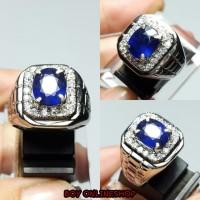 Cincin Batu Natural Blue Sapphire Cutting Corondum