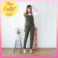 Baju Kodok Wanita Fashion Wanita Jumpsuit Jeans Ripped Hijau Army