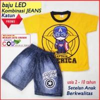 Baju Anak LED Kapten America Setelan anak Laki-Laki Kombinasi Jeans