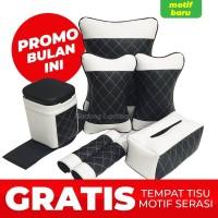 Set bantal mobil 4 in 1 / bantal kulit mobil - Wajik Full Krem
