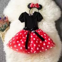 baju anak perempuan/baju pesta dress Minnie mouse set bando Minnie mou - 4-5 tahun, Merah