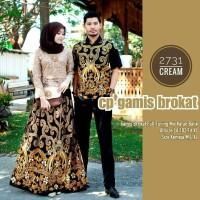 Baju dress gamis couple batik sarimbit brokat lapis furing 2731