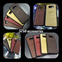SAMSUNG S7 EDGE/S8/S8+/S9/S9+ CASE LUXURY MOTIF KAYU - Hitam