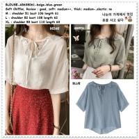 AB638061 Baju Atasan Wanita Blouse Korea Import Putih Biru Hijau Blue