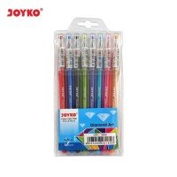 Color Gel Pen / Pulepen / Pena Joyko GPC-309S / 1 Set 8 Warna / 0.5 mm