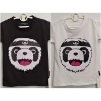baju anak kaos anak cowok motif panda size m - xl bahan katun - Putih, M