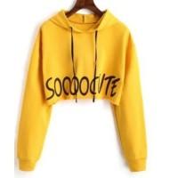So Cute Crop Top Hoodie Baju Wanita Best Seller Shirt 5164