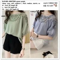 AB837983 Baju Atasan Wanita Blouse Korea Import Purple Green Hijau