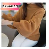 Baju Wanita Sweater Turtleneck Musim Dingin Longgar Rajutan Pullover S