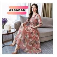 Baju Dress Wanita Women V-neck Loose Floral Print Chiffon Long Sleeve
