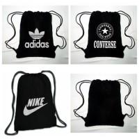 [BLACK] Tas Serut Ransel String Bag Drawstring Bag Gym Bag