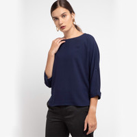 KORZ Blouse With Roll Up Sleeve Details Dark Navy