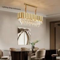 L492 12 Lampu gantung kristal panjang gold mewah modern decor crystal - Panjang 100cm