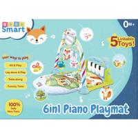 bebe smart 6 in 1 piano playmat / matras piano bayi _ warna biru
