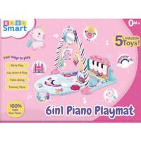 bebe smart 6 in 1 piano playmat / matras main piano bayi _ warna pink