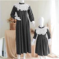 couple baju setelan ibu dan anak 3-5 thn dress natal pesta hitam