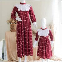 couple baju setelan ibu dan anak 3-5 thn dress natal pesta merah